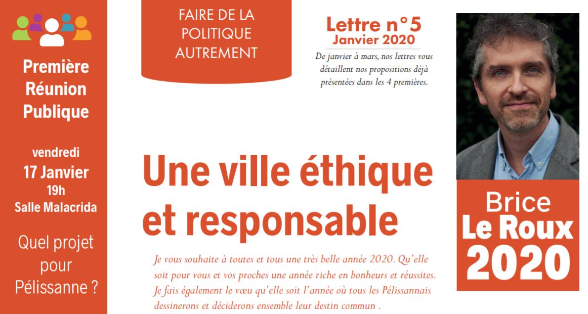 Lettre N°5 – Janvier 2020 – Une ville éthique et responsable