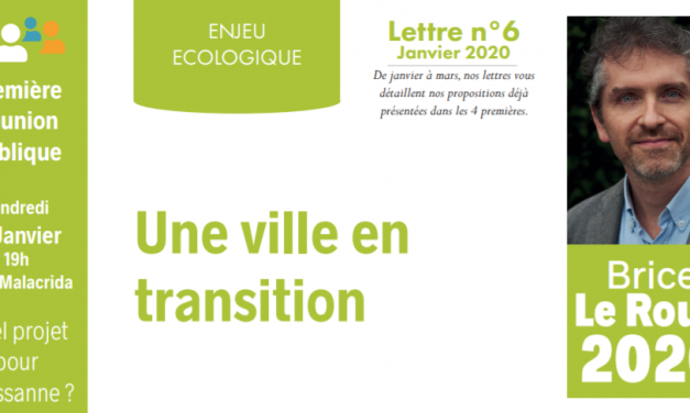 Lettre N°6 – Janvier 2020 – Une ville en transition