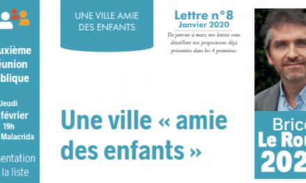 LETTRE N°8, JANVIER 2020 : UNE VILLE «AMIE DES ENFANTS»
